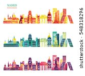 madrid skyline. travel and... | Shutterstock .eps vector #548318296