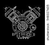 drawing an internal combustion... | Shutterstock .eps vector #548327605