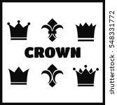 crown and fleur de lis icons.... | Shutterstock . vector #548331772