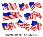 american flags waving set. | Shutterstock .eps vector #54833461