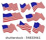 american flags waving set. | Shutterstock .eps vector #54833461
