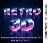 3d sci fi 80's retro alphabet... | Shutterstock .eps vector #548359006