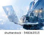 double exposure of businessmen... | Shutterstock . vector #548363515