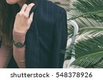 close up fashion details  young ... | Shutterstock . vector #548378926