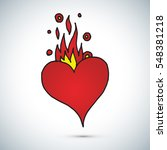 red heart and fire freehand... | Shutterstock .eps vector #548381218
