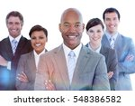 portrait of joyful business... | Shutterstock . vector #548386582