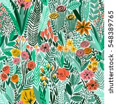 tropical seamless floral... | Shutterstock .eps vector #548389765