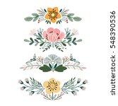 vector set with vintage flower...   Shutterstock .eps vector #548390536