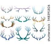set of deer antlers | Shutterstock .eps vector #548391826