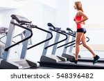 active young woman running on... | Shutterstock . vector #548396482