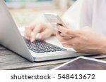 female hands on laptop keyboard ... | Shutterstock . vector #548413672