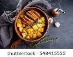 pork baked in the oven with...   Shutterstock . vector #548415532