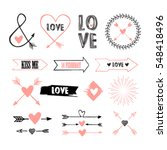 Stock vector valentines day set with florals love lettering overlays speech bubbles and etc template for 548418496