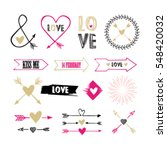 valentines day set with florals ... | Shutterstock .eps vector #548420032
