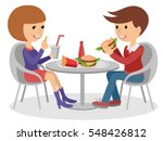 girl and boy eating fast food.... | Shutterstock .eps vector #548426812