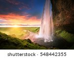 seljalandsfoss waterfall at... | Shutterstock . vector #548442355