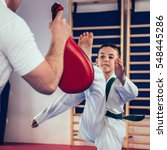 tae kwon do instructor with... | Shutterstock . vector #548445286
