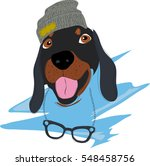 icon with fashion dachshund dog.... | Shutterstock .eps vector #548458756