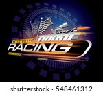 racing with checkered flags... | Shutterstock .eps vector #548461312