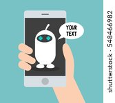 mobile chat bot concept. cute... | Shutterstock .eps vector #548466982