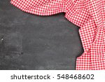 red picnic cloth on wooden... | Shutterstock . vector #548468602