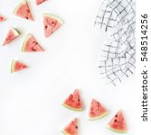 Watermelon Pieces On White...