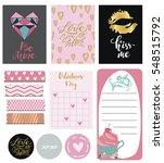 set of hand drawn valentine's... | Shutterstock .eps vector #548515792