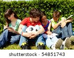 portrait of modern teens in... | Shutterstock . vector #54851743