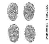 vector fingerprint sketch set.... | Shutterstock .eps vector #548526322
