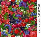berries   blueberry  raspberry  ... | Shutterstock .eps vector #548527882