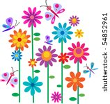 Stock vector springtime flowers and butterflies vector illustration 54852961
