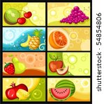 fruit card set | Shutterstock .eps vector #54854806