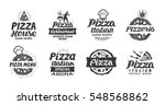 pizza set logo  label  element. ... | Shutterstock .eps vector #548568862