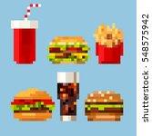 pixel art fastfood set in style ... | Shutterstock .eps vector #548575942