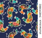 floral chicken rooster seamless ... | Shutterstock .eps vector #548593882