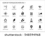 blockchain vector icon set