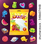 fruit jelly vector set and... | Shutterstock .eps vector #548607448