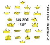 hand drawn golden crowns set...   Shutterstock .eps vector #548614552