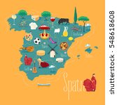 map of spain vector... | Shutterstock .eps vector #548618608