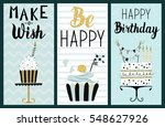happy birthday party cards set... | Shutterstock .eps vector #548627926