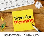 Small photo of Time for planning/ Time for planning sticker with marketing plan inscription over computer keyboard
