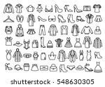 Stock vector set of woman clothes icons thin line style 548630305