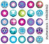 set of abstract 3d faceted... | Shutterstock . vector #548638462