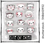 cute cats vector set | Shutterstock .eps vector #548643952