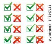 mark x and v over check box.... | Shutterstock .eps vector #548647186