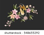 embroidery patch flowers bird... | Shutterstock .eps vector #548655292