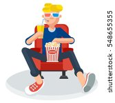 young teen spectator in a movie ... | Shutterstock .eps vector #548655355