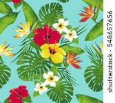 tropical flowers and leaves on...   Shutterstock . vector #548657656