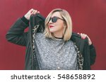 fashionable young blogger... | Shutterstock . vector #548658892