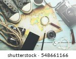 outfit of traveler on the... | Shutterstock . vector #548661166